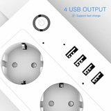 Slimme Stekkerdoos   4x Stekkers & 4x USB ( FAST CHARGE )   Werkt met App, Voice Control, Amazon Alexa en Google Home_