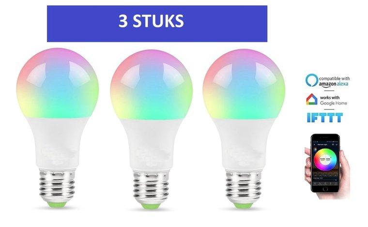 Slimme Verlichting bedienbaar met smartphone applicatie | Slimme Lampen (E27) | Dimbaar  | 3 stuks