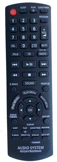 Alternatieve Panasonic N2QAYB000640 afstandsbediening