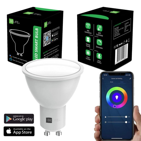 BELIFE® Smart GU10 LED Lamp - Slimme Lampen - Dimbaar - RGB