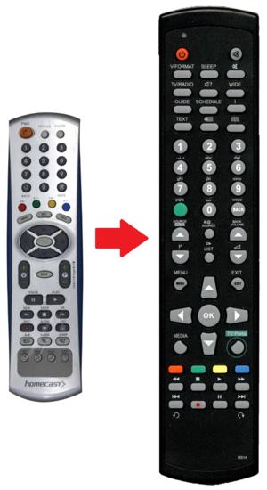 Homecast S8000 afstandsbediening