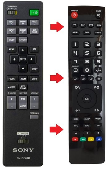 Sony RM-PJ18 afstandsbediening [VERVANGER]