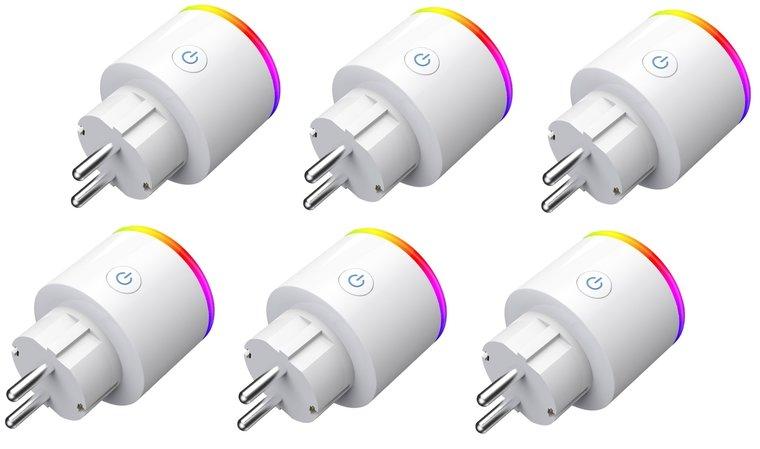Smart plug - Set van 6 - Slimme stekker 16A - Google Home (Google Assistant) - met stroommeter