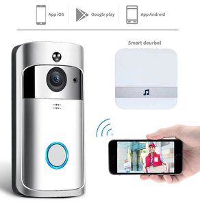 Slimme deurbel   Inclusief batterijen en deurbel   iOS & Android applicatie   HD WIDE-ANGLE Camera   Bewegingssensor met alarm   Two-Way Audio  Cloud opslag   IR Nachtmodus